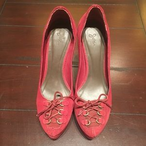 257e278e4ec Joie Shoes - Joie Red Suede Lace up Heels